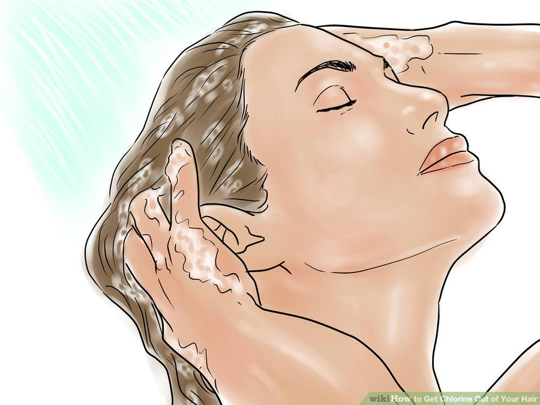 khử bỏ hóa chất Clo bằng cách gội đầu với dầu gội Triswim và nước sách